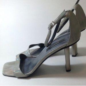 DKNY Iridescent Reptile Heel Sandals